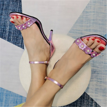Women high heel sandals Summer Chunky Heel Silver Color Open Toe Flower Thin Heeled Roman Shoes Comfy Sandals