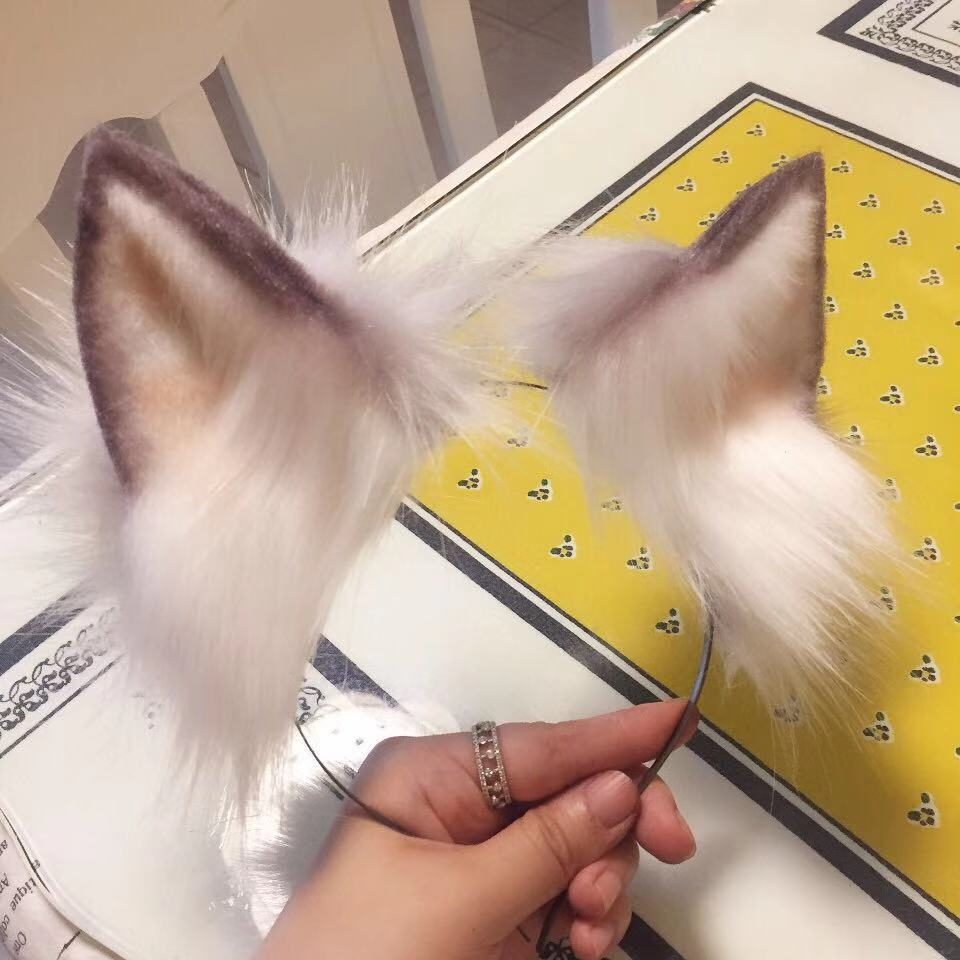 New Lolita Cosplay Costume Accessories Milk Wolf Fox Ears Cat Wolves Headwear Prop Hair Hoop For Girl Women