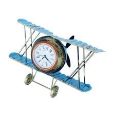 Reloj de avión de mesa Retro de Metal, modelo de Avión Vintage, Bar de vino, decoración de tienda, reloj de asiento de escritorio, regalo para niños