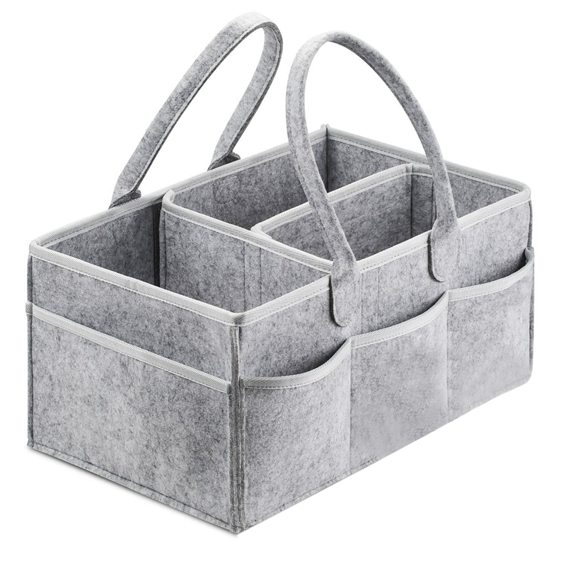Multi-use Baby Diaper Caddy Organizer//Traveling Camping Basket for Car Fits All Sizes Diapers Wipes Toys Burp Cloth Gray Nursery Storage Bin with Handles Portable Holder Bag for Changing Tables