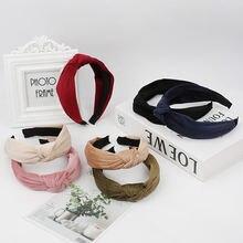 Модные мягкие бархатные повязки для волос широкая боковая повязка
