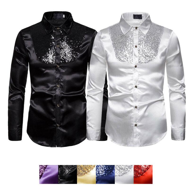 Men Top Stage Dance Nightclub Prom Costume Men's Luxury Sequin Glitter Shirts Long Sleeve Silk Satin Shiny Disco Party Shirt