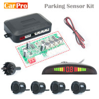 Kit sensor de estacionamento do carro display led radar de estacionamento automático com 4 sensores reverso backup monitor sistema detector|Sensores de estacionamento| |  -