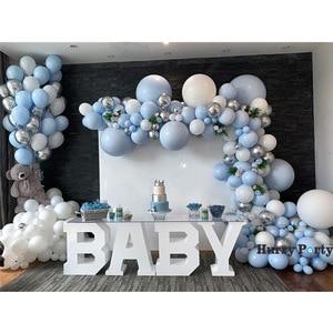 350 шт./компл. Детские 1St Счастливого праздника, дня рождения украшение шар насос подкачки серебристо-голубой фон с воздушными шарами Baby Shower п...