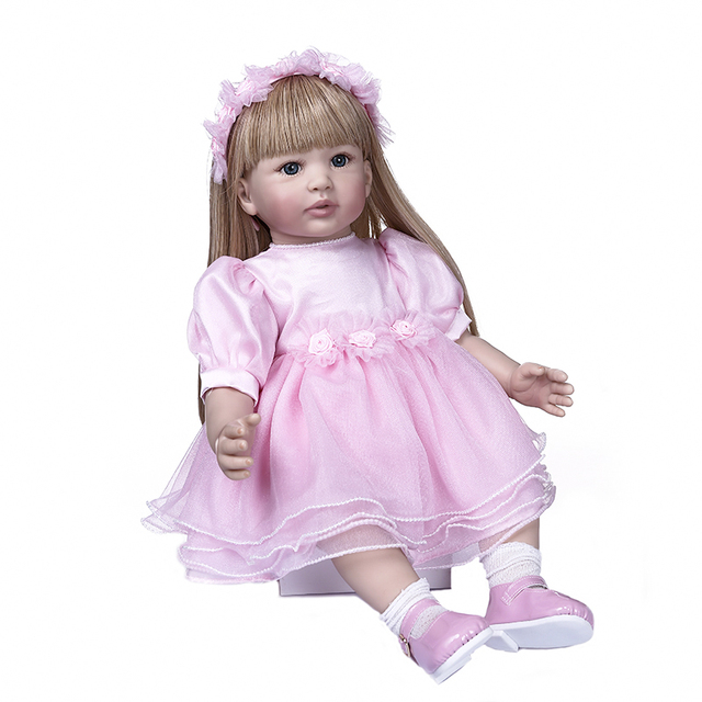 Reborn Toddler Girl Princess in Pink Skirt Bebe Doll Long Blond Hair 1