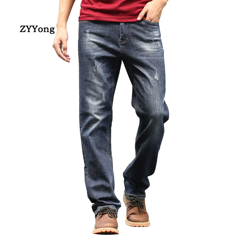 Spring And Autumn Men Jeans Straight Breathable Baggy Blue Leisure Wide Leg Denim Pants Hip Hop Skateboarder Loose Trousers