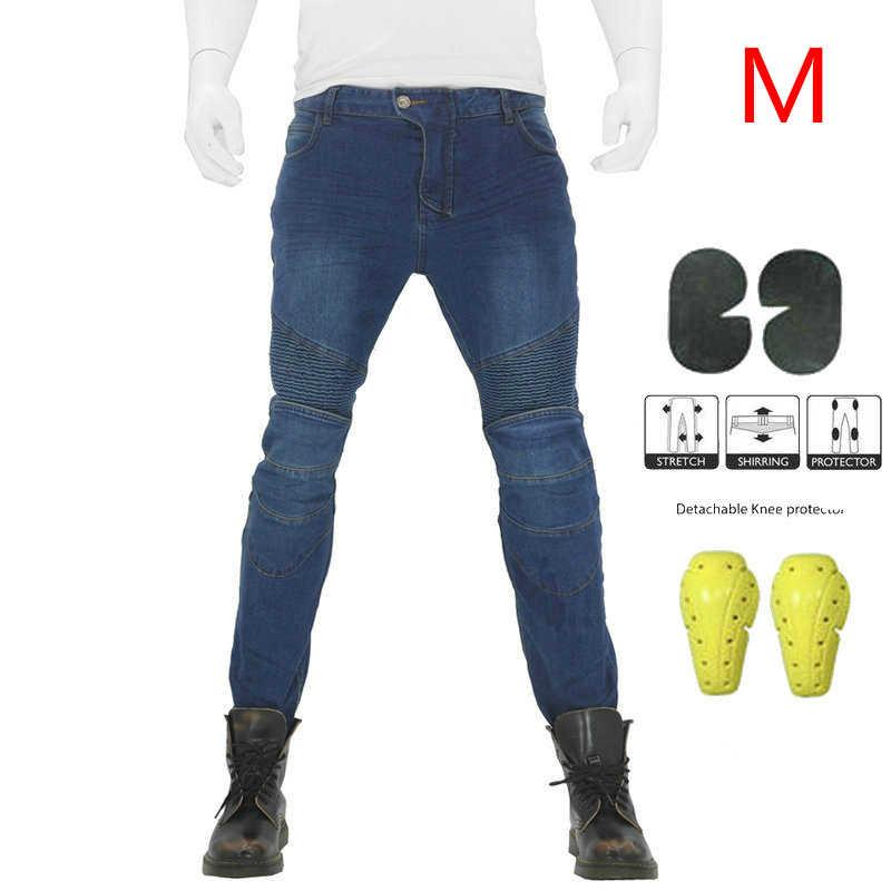 Unisex Dei Jeans Da Moto Biker Moto Pantaloni Pantaloni Da Combattimento + ginocchiere Antivento
