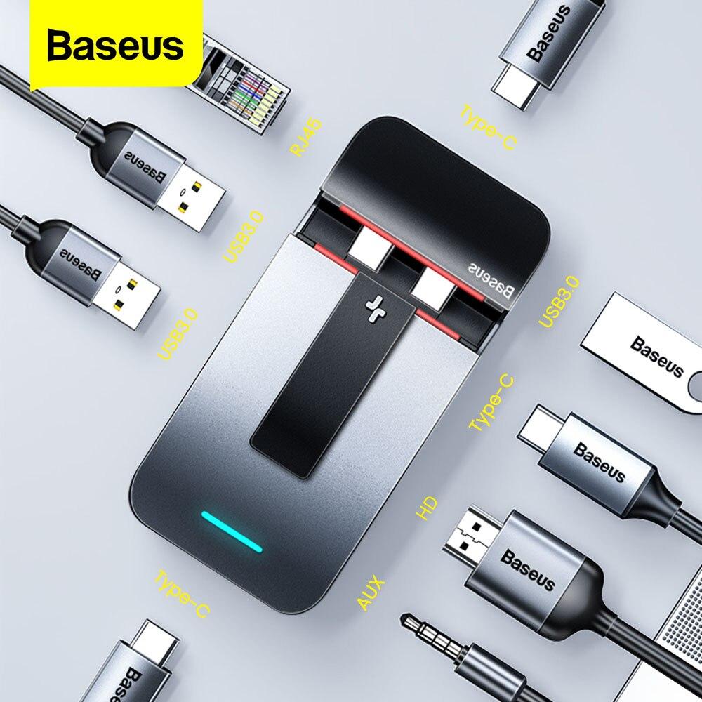 Baseus 9 in 1 USB C HUB Type C HUB to HDMI RJ45 Jack 3.5 Multi USB 3.0 PD HUB Adapter For MacBook Pro USB-C Splitter Type-c HUB