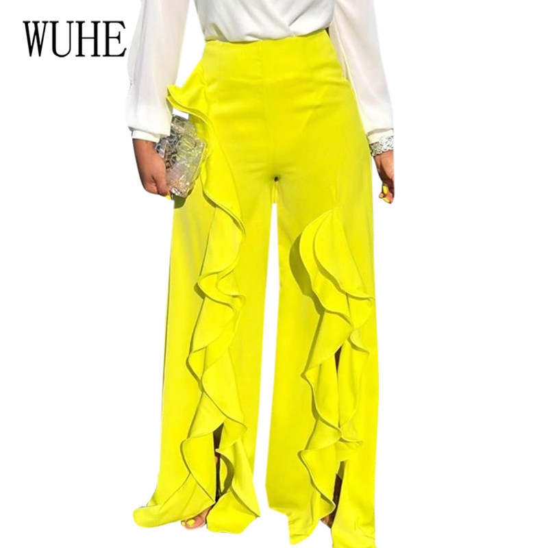 WUHE Summer High Waist Wide Leg Pants Women Elegant High Elastich Flare Pants Ruffles Pants Casual Beach Party Trousers Women in Pants amp Capris from Women 39 s Clothing
