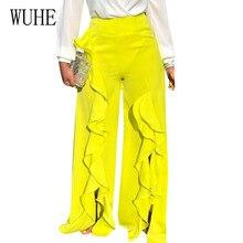WUHE Summer High Waist Wide Leg Pants Women Elegant Elastich Flare Ruffles Casual Beach Party Trousers