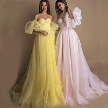 Bright Yellow Prom Dress 2020 Pink Dot Tulle A-line Long Par