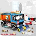 Cidade veículos de construção varredor limpeza carro lixo trcuk blocos de construção tijolos modelo crianças brinquedos presentes