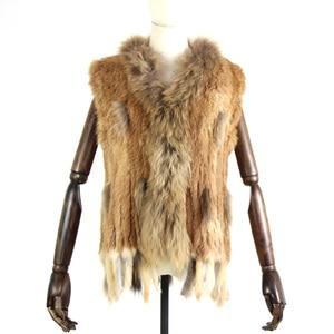 Image 2 - Harppihop Gratis Verzending Womens Natuurlijke Echt Konijnenbont Vest Met Wasbeer Bontkraag Vest/Jassen Rex Konijn Gebreide Winte