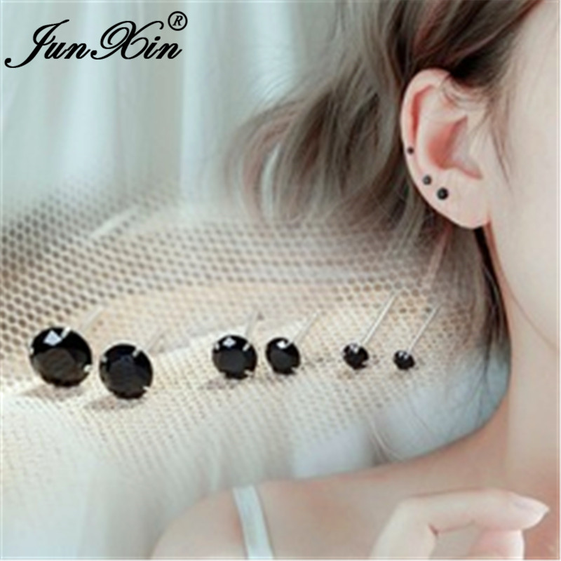 Male Female Black Stone Round Earrings White Gold Filled Stacking Small Zircon Wedding Stud Earrings For Men Women Jewelry Cz