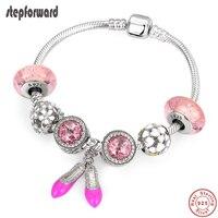 STEP FORWARD Silver Bracelet Pink Series Crystal Beads Shoes Charm Bangle 100% 925 Sterling Silver Original Bracelets For Women
