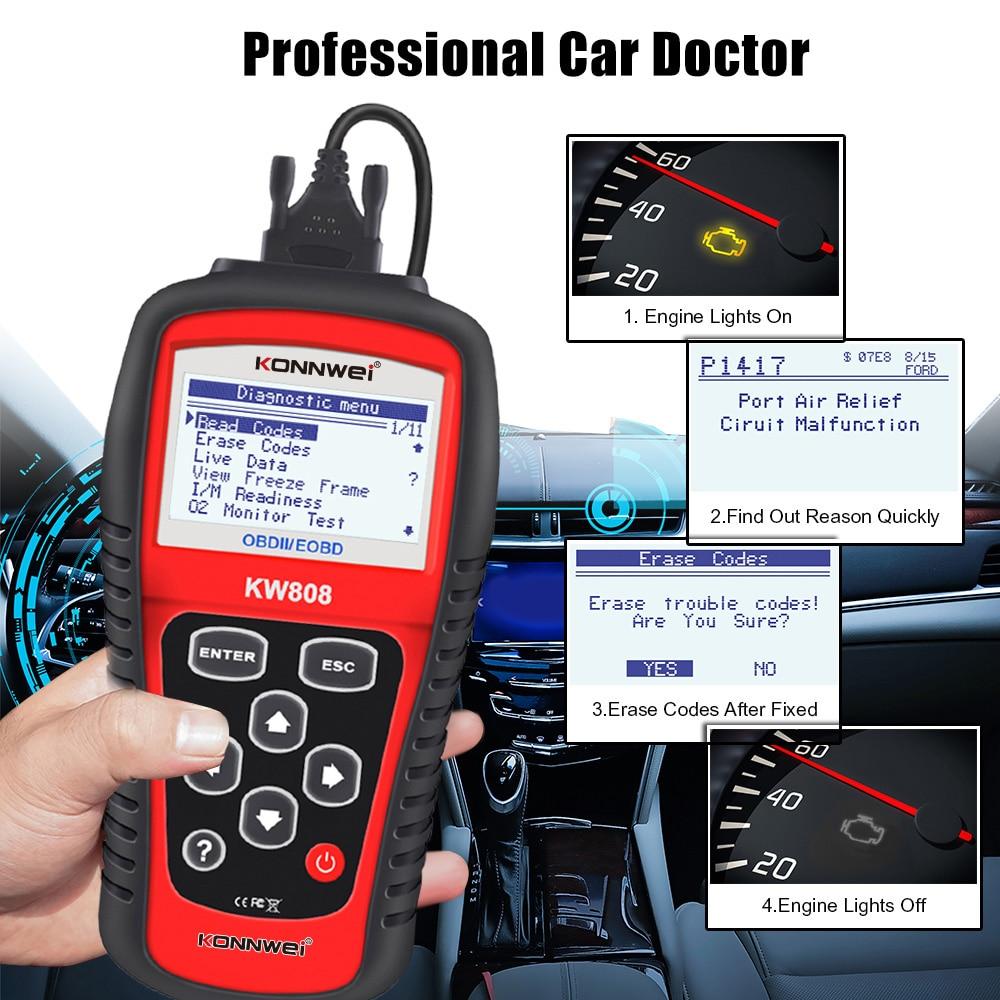 KONNWEI KW808 Professional OBDII / EOBD Cars Code Reader&Auto Scanner Automotive Detection Decoder Diagnostic Scan tool