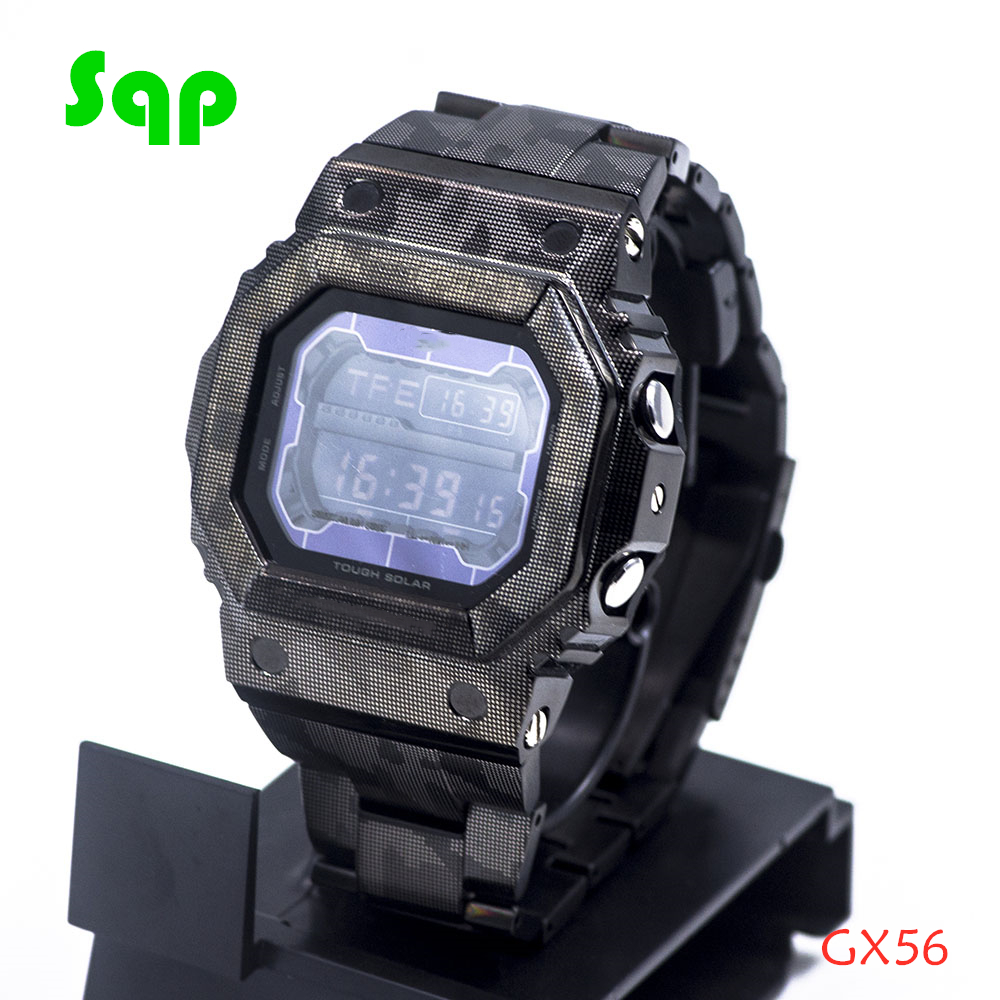 New Arrival GX56 Stainless Steel Black Camouflage Watch Set Watchband Bezel/Case Metal