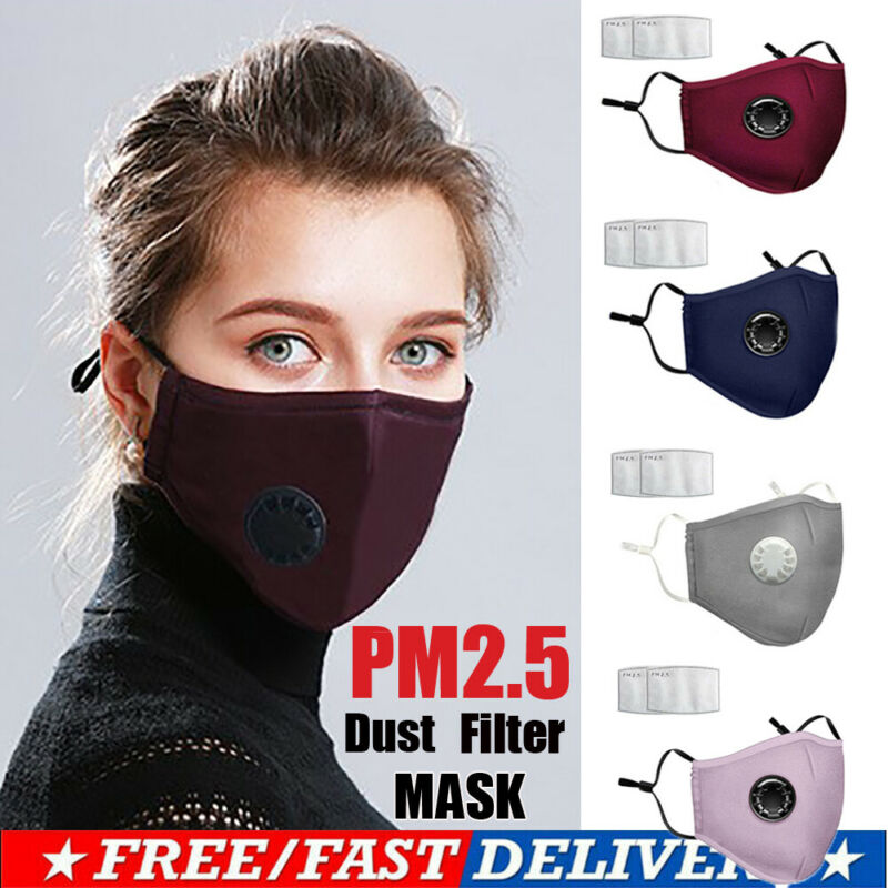 Unisex Reusable Face Mask Anti-Bacteria Protection Cover Anti-Dust W/2pc PM2.5 Filter Air Pads With Replacement Fliter