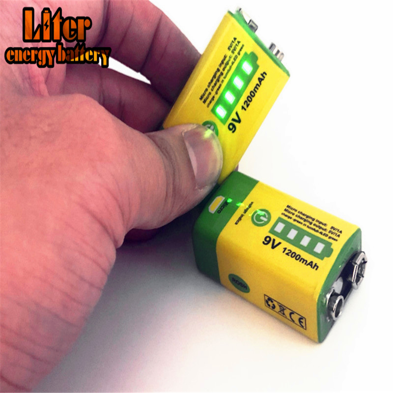 6F22 Micro USB <font><b>9V</b></font> <font><b>1200mAh</b></font> rechargeable lithium ion battery for smoke alarm wireless microphone Guitar EQ Intercom Multimeter image