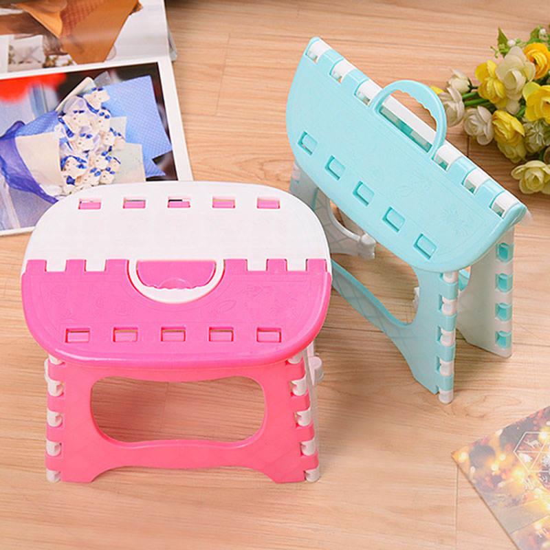 Children's Stool Kids Folding Stool Portable Outdoor Small Stool Folding Small Chair Plastic Stool Pink/Blue