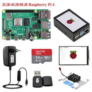 Original Raspberry Pi 4 Model B 2GB/4GB/8GB + ABS Case + 3.5 inch Touch Screen LCD + Power Supply + SD Card + Card Reader RPI 4B