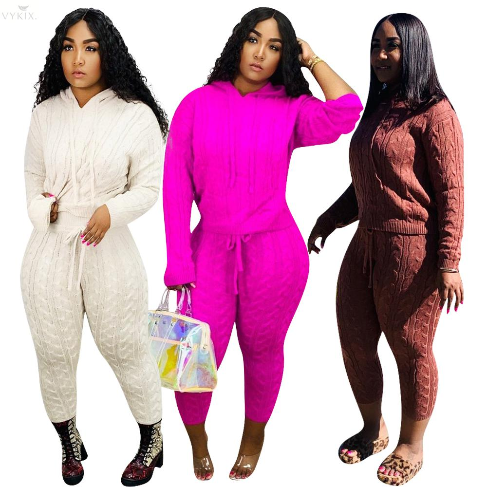 Autumn Winter Tracksuit Women Set Hoodie Full Sleeve Casual Knitted Sweater Two Piece Set Top And Pants Sportswear Women Outfits