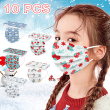 Christmas 10pcs Disposable Mask For Children Pm2.5 Snowmen Print Face Mask Mouth Cover 3ply Earloop Mask Mascarillas Masques