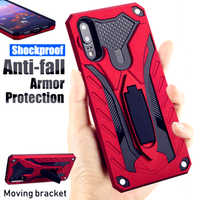 Luxury Armor Shockproof Case For Huawei P20 P30 Lite Mate 30 20 9 10 Pro Y6 Y7 Y9 Prime 2019 Hard Stand Holder Silicon Cover