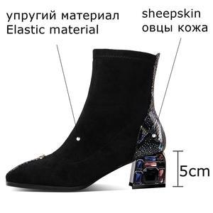 Image 2 - ALLBITEFO الكريستال كعب لينة جلد الغنم جلد طبيعي الانزلاق على النساء الأحذية موضة حذاء من الجلد موضة جديدة ربيع الخريف الأحذية