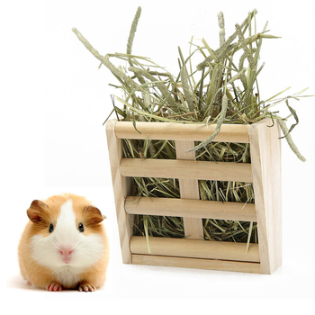 Pet Chinchilla Professional Manger Fixable Home Guinea Pig Hay Feeder Accessories Rack Holder Hamster Rabbit Grass Wood