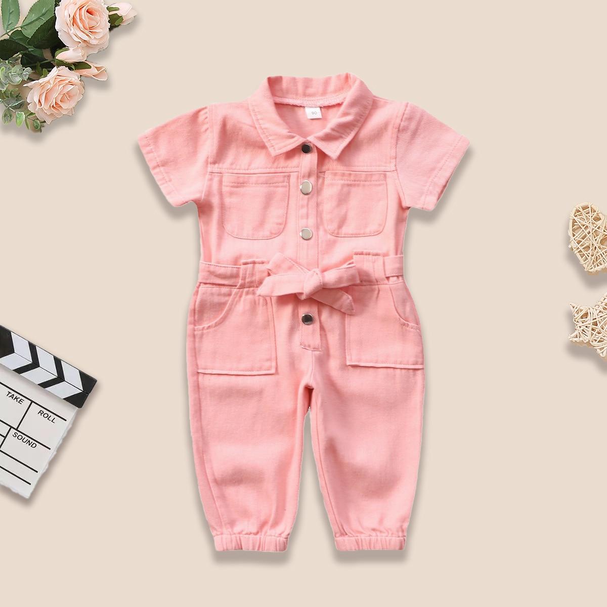 פעוט תינוקת סרבל Romper כפתור ורוד כיס בגדי עבודה מזדמן חתיכה אחת עומד צווארון כיס קצר שרוול בגדים