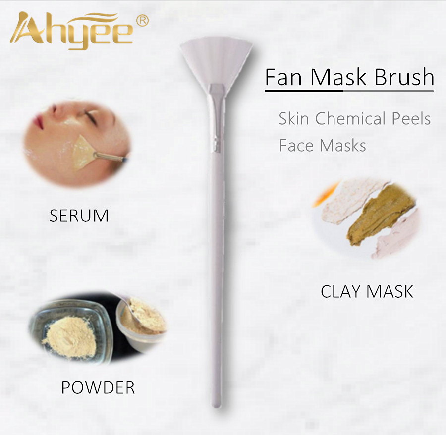 Professional Long Size Fan Brush Clay Mask Serum Tools Wood Handle Synthetic Hair Cosmetic Beauty Skincare Makeup Tool in Eye Shadow Applicator from Beauty Health
