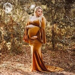 دون & جودي الشتاء المخملية فستان حمل للصور تبادل لاطلاق النار عيد الميلاد الأمومة التصوير فستان طويل خريف الحمل