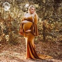Don&Judy Winter Velvet Maternity Dress For Photo Shoot Christmas Maternity Photography Long Dress Fall Pregnancy Dresses