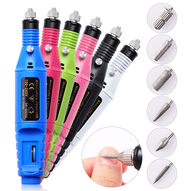6 Bits/Set Nail Art Drill File UV Gel Remove Sanding Buffer Electric Machine Drills Professional Pedicure Nail Art Tools
