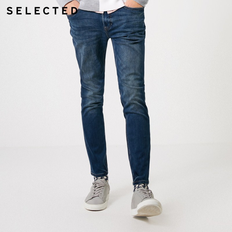 SELECTED Men's Winter Stretch Lycra Whiskers Skinny Jeans C|419132514