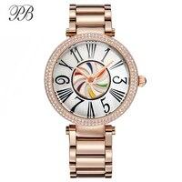 PB Luxury Brand Women Watches Stainless Steel Colorful&Roman Numeral Crystal Quartz Waterproof Ladies Rose Gold Relogio Feminino