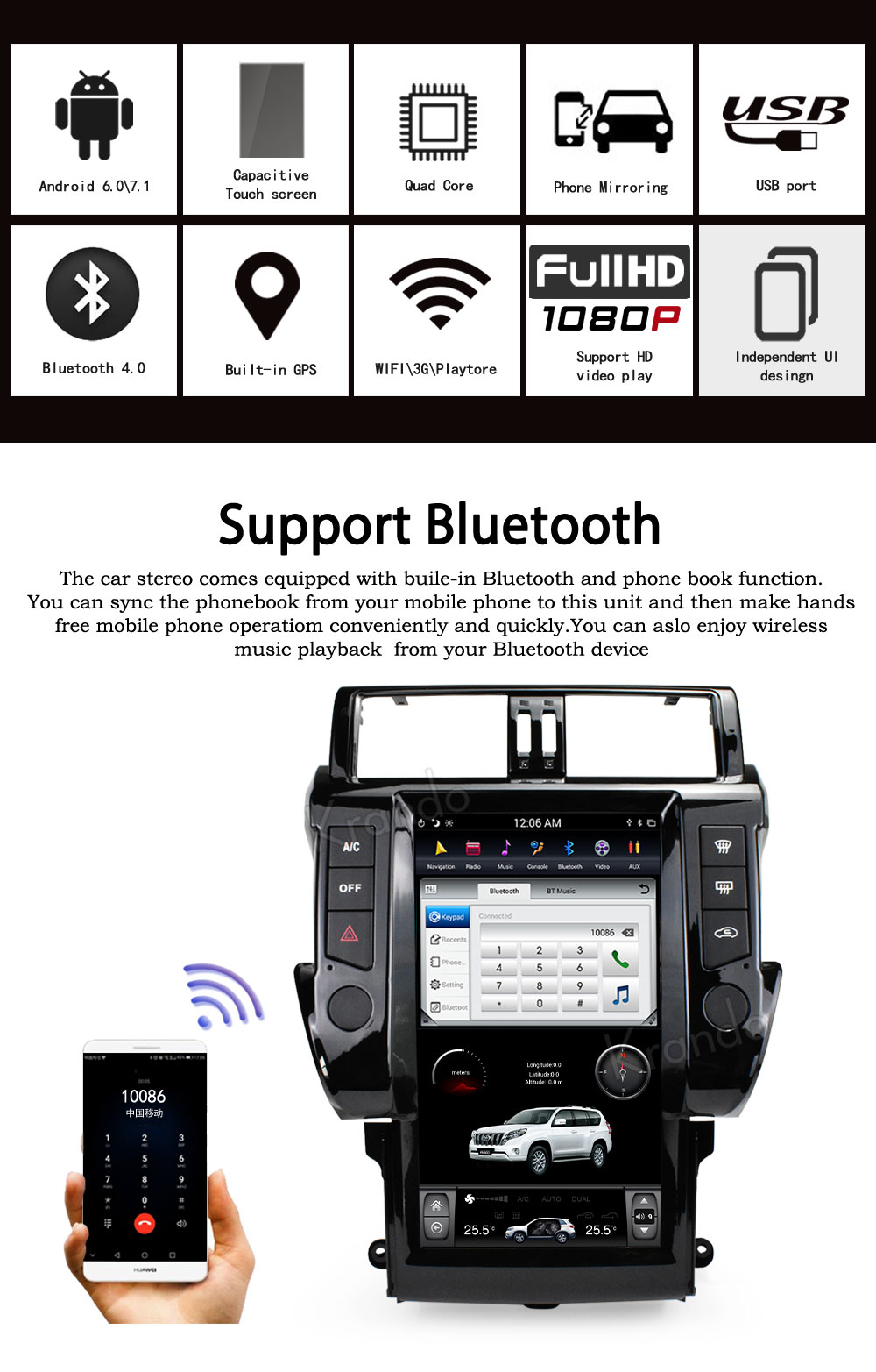 "Sale Krando Android 8.1 13.6"" Vertical screen car radio player gps for Toyota Prado 150 2014-2017 gps navigation multimedia system 1"