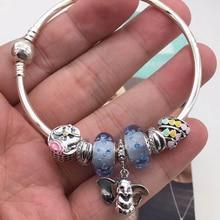 Quality Original 1:1 100%925 Sterling Silver Bubble Beads Pendant Bracelet Free