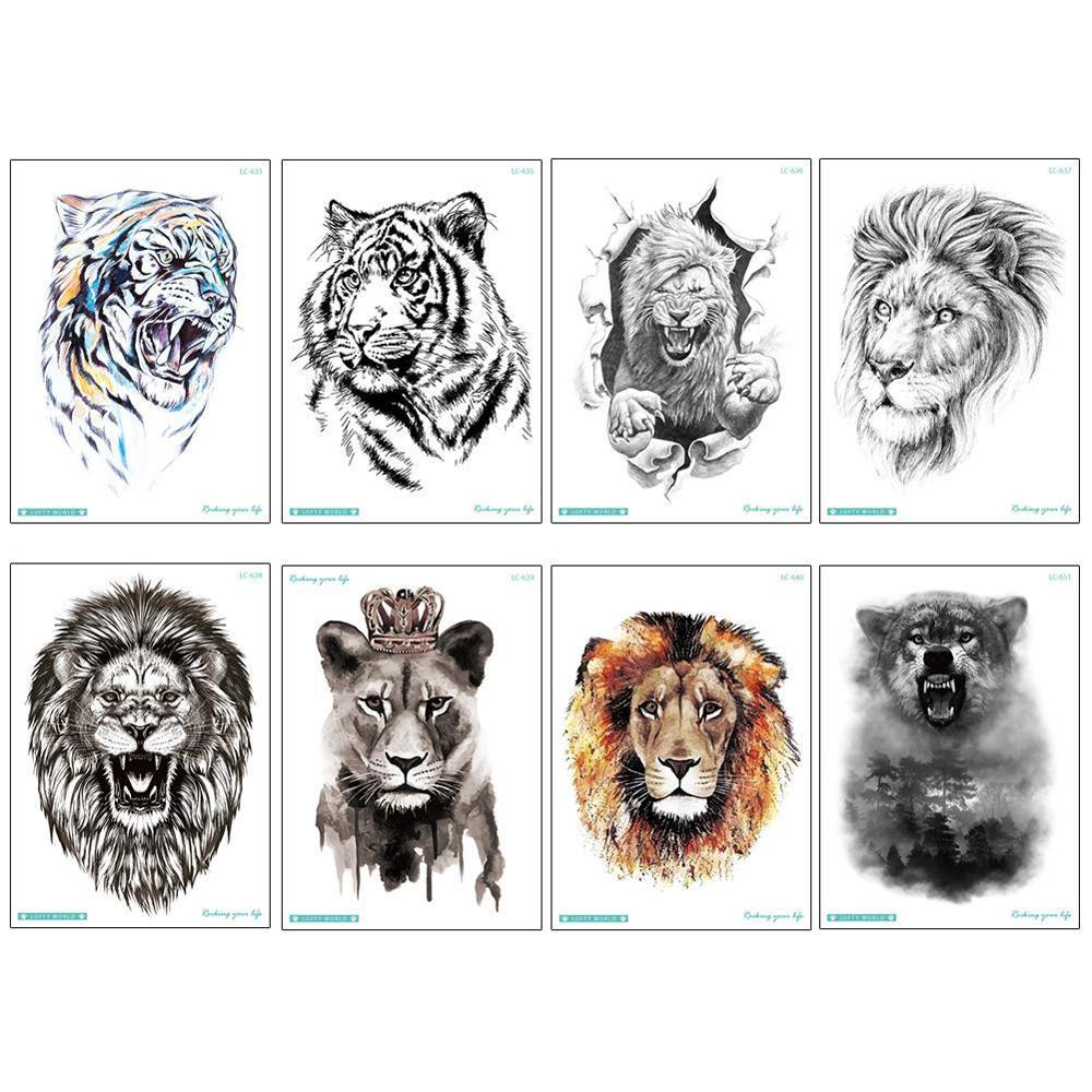 8 Types Temporary Tatoo Fake Tattoo Sticker Ferocious Lion Tatto Large Size Arm Leg Waterproof Tattoos For Men Women Girl