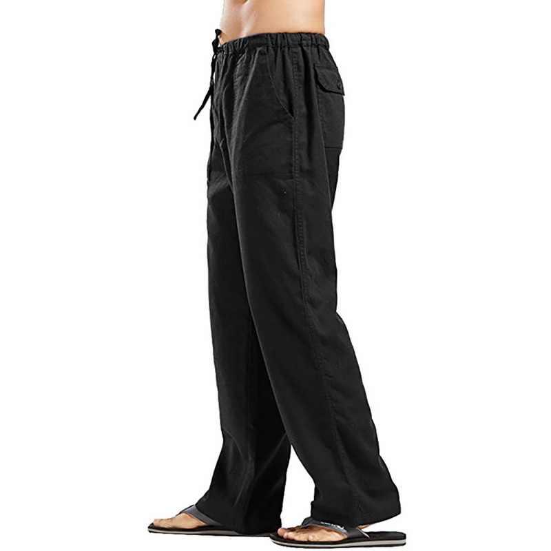 Lniane spodnie męskie spodnie letnie lniane spodnie komfortowe spodnie rozciągliwa talia prosta oddychająca nowa jednolita kolorystyka Casual Cotton
