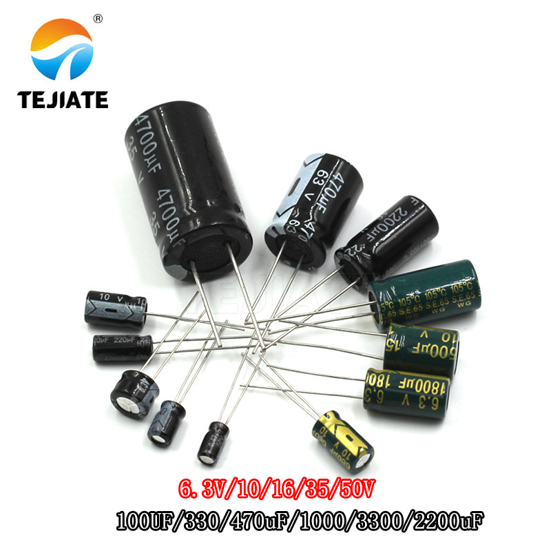 DIP Direct Inserted Aluminum Electrolytic Capacitor 6.3V/10/16/35/50V/100UF/330/470uF/1000/3300/2200uF KIT DIY