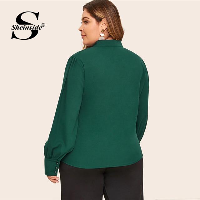 Sheinside Plus Size Elegant Green Stand Collar Blouse Women 2019 Autumn Button Up Detail Blouses Ladies Solid Minimalist Top 1