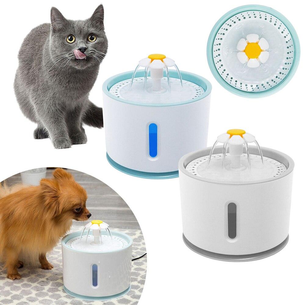 Автоматический Электрический водяной фонтанчик для домашних животных 2,4 л, светодиодный Электрический фильтр, бесшумная водяная кормушка ...