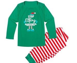 Image 5 - Family Christmas Pajamas Set Family Matching Clothes Adult Kids Pajamas set Baby Romper Xmas STOP Elfing Family Sleepwear