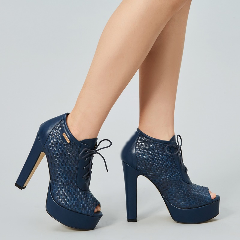 Chunky High Heel Ankle Booties Peep Toe Lace Up Platform Shoes Snake Skin Women Blue Black Short Boots Fall Winter Runway Shoes in Ankle Boots from Shoes