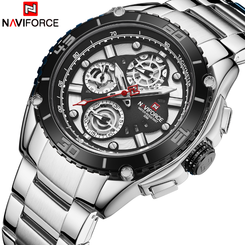NAVIFORCE Watches Men Waterproof Quartz Watch Top Brand Luxury Stainless Steel Sport Wristwatch For Men Calendar Male Clock