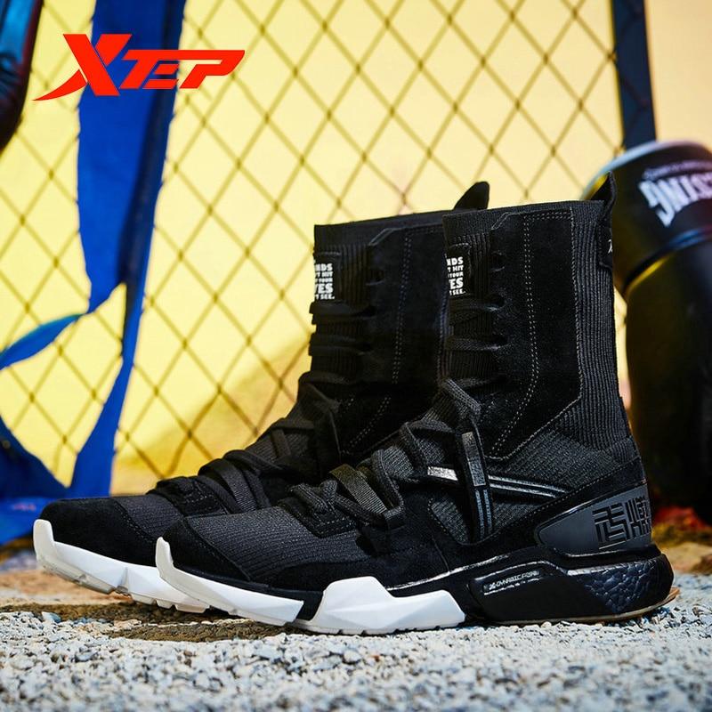Xtep [Ali Boxing] Мужские Модные Повседневные кроссовки на шнуровке, серия Ali, прогулочная дышащая мужская обувь с высоким носком, мужская обувь 981219520859