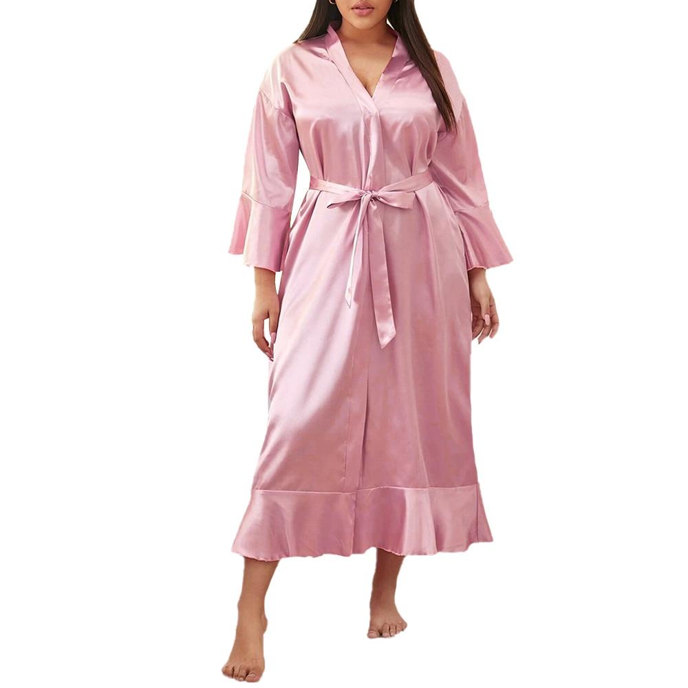 Plus Size Erotic Lingerie Women Solid Colour Satin Underwear Sleepwear Bodydoll Female Sexy Bowknot Dress Large Size lenceria 30 Babydolls & Chemises  - AliExpress