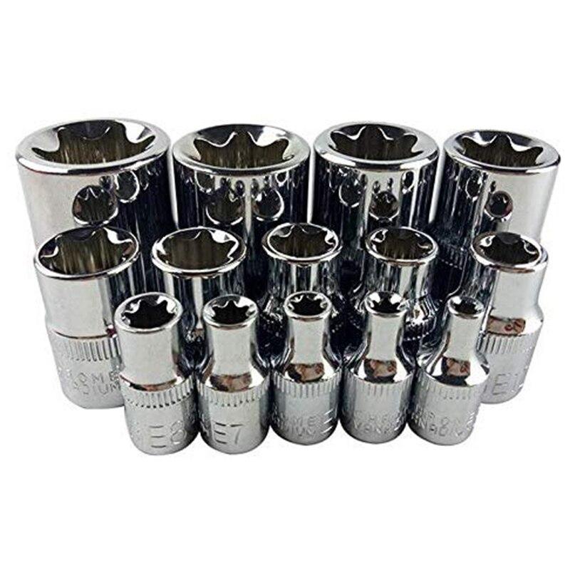14 Pçs/set E Torx Estrela Feminina Conjunto de Soquete Bit 1/2 polegada 3/8 polegada 1/4 polegada Unidade E4 - E24 Reparação ferramenta de Mão Conjunto de Ferramentas
